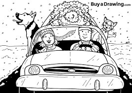 cartoon car drawing a christmas tree couple with their pets cartoon drawing