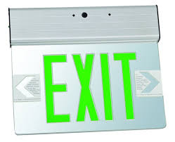 exit sign light bulbs surface mount edge lit led exit signs green on clear panel aluminum