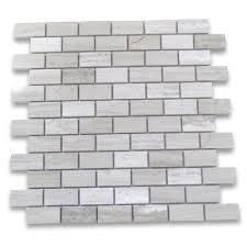 white wood grain haisa light marble 1x2 medium brick mosaic