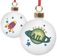 buy your personalised space ceramic christmas tree bauble