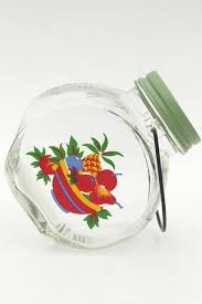 glass jar kitchen canister w wire handle retro fruit decal