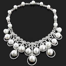 diamond pearl necklace images Designer pearl necklace with diamonds 17 96ct 18k gold luccello jpg