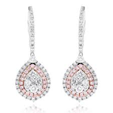 teardrop diamond earrings gold teardrop shape cluster white pink diamond earrings for women