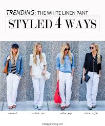 white linen the top trend series four ways to style white linen pants elle