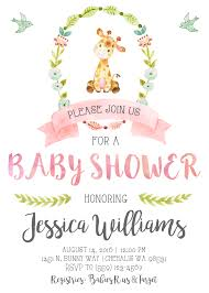 garden party baby shower ideas giraffe baby shower invitation invite pastel watercolor pink