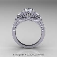 White Gold Cz Wedding Rings by 14k White Gold Three Stone Russian Cubic Zirconia Diamond