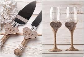 personalized wedding serving set toasting glasses flutes rustic cake serving set personalized knife