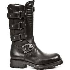 black biker boots rock m 7604 s1 black leather biker boots