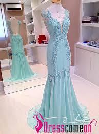 Light Blue Mermaid Dress Stunning Mermaid V Neck Backless Light Blue Lace Chiffon Prom