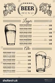 beer menu design template vector bar stock vector 301015850