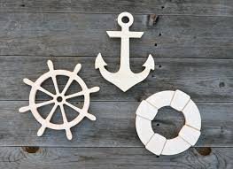 anchor wood 3 pieces nautical wood cut outs wood cutouts wood cut outs