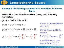 example 4b writing a quadratic function in vertex form