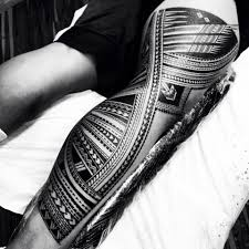 fantastic nice amazing samoan polynesian tattoo on back of leg