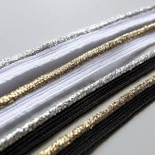 piping cord flanged insert piping cord silver gold metallic on trend fabrics