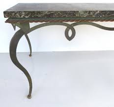 gilbert poillerat style marble top forged iron coffee table