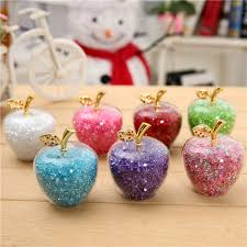 7 color glass apple paperweight with diamonds