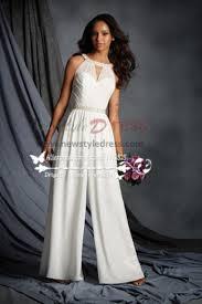 white jumpsuit wedding chiffon halter bridal jumpsuit for wedding wps 080