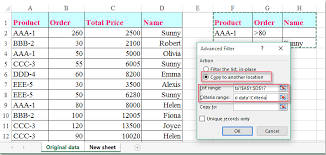 how to copy data to another worksheet with advanced filter in excel