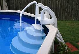wedding cake pool steps outdoors design above ground pool steps doughboy above ground