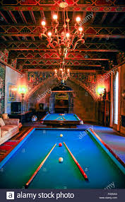 the games room with billiards tables inside the hearst castle near