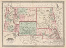 Nebraska Map 1870 Johnson U0027s Nebraska Dakota Idaho Montana And Wyoming U2013 Hjbmaps