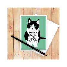 crazy cat lady birthday card cat card cat greeting card cat