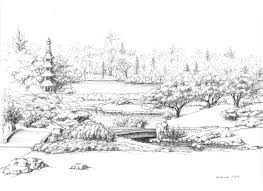 a small pond and a decorative wooden bridge in the japanese garden