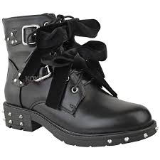 ladies biker boots new womens ladies studded lace up ankle boots buckle biker goth