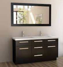 Espresso Double Vanity Moscony 60 U2033 Double Sink Vanity Set In Espresso And Matching Mirror