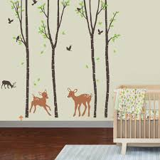 amazon com into the woods babynursery decorative wall art sticker amazon com giant wall sticker decals birch tree forest with deers and flying birds baby trees home decor