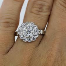 flower engagement rings engagement rings boca raton platinum 1 15ct european cut