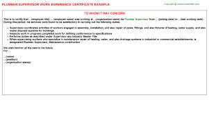 Plumbing Supervisor Resume Sample Plumber Supervisor Work Experience Certificate