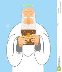 god and bible old man with beard holds holy bible stock vector