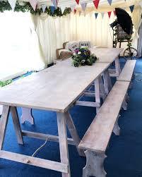 Trestle Table Bench Limewash Trestle Table Place Settings Event Hire London U0026 Uk