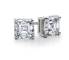 diamond studs earrings asscher diamond stud earrings in 14k white gold 1 2 ct tw blue