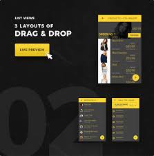 layout template listview ionic 3 ui theme template app material design yellow dark ionic