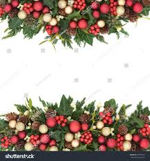 christmas background border gold red bauble stock photo 690376336