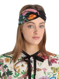 silk headband lyst gucci floral snake silk headband in black