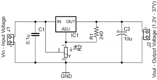 component adjustable voltage regulator circuit free using lm317 dc