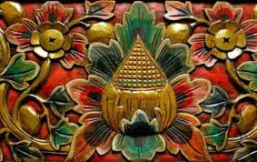 balinese lotus architectural panel relief wood carving bali wall