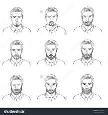 vector set sketch mens faces beards stock vector 277521059