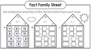 math worksheets fact families kiddo shelter