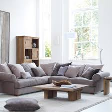 Grey Sofa Living Room Ideas Nice Sofa In Cream With Grey Blue Footstool U0026 Soft Grey Wall The