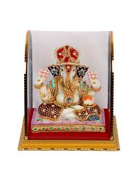 lord ganesha idol with beautiful embellishments home decoratives