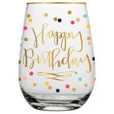 wine birthday happy birthday stemless wine glass