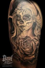 skull and roses tattoo for girls sugar skull with rose tattoo