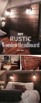 Rustic Wood Headboard Diy Rustic Wooden Headboard With Lights