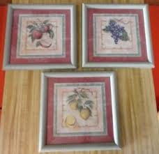 home interiors picture frames home interiors set of 3 frame fruit prints with crackled green