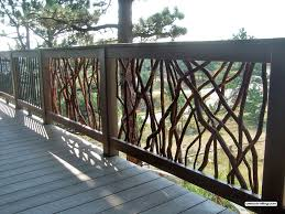 deck railing with composite lumber and branch and metal balusters