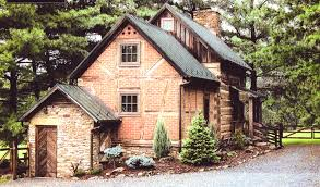 log atone and brick house design idea with cool rustic small house